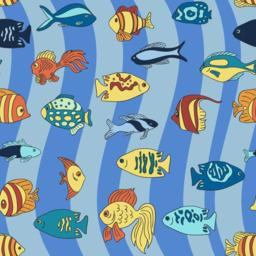 Aquarium fish on the blue waves pattern Vector