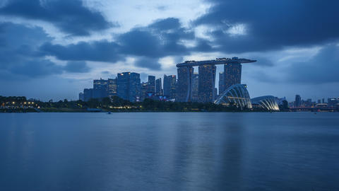 Day to Night Time Lapse video of Singapore city skyline in Singapore timelapse Footage