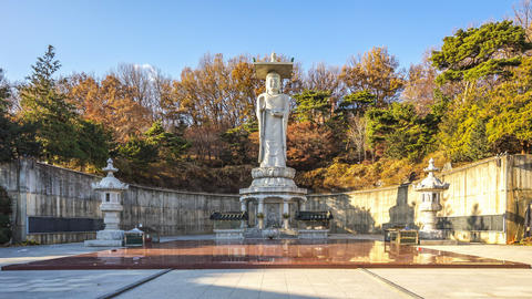 Timelapse video of The Big Buddha in Bongeunsa Temple , Seoul, South Korea Time Footage