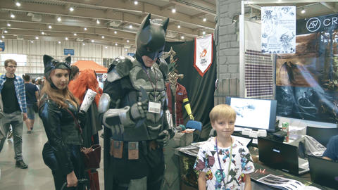 POZNAN, POLAND - MAY 19, 2018. Young man wearing DIY Batman cosplay costume Footage