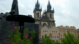 Jan Hus and Our Lady Church Prague Footage