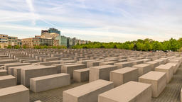 Berlin city skyline timelapse at Jewish Holocaust Memorial museum, Berlin, Footage