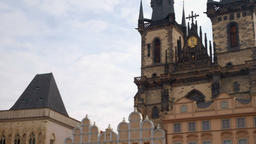 Pan from the tower of Our Lady Church to Jan Hus Prague Footage