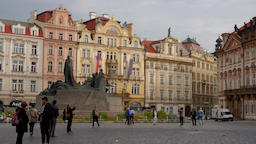 Pan to the tower of Our Lady Church from Jan Hus Prague Footage
