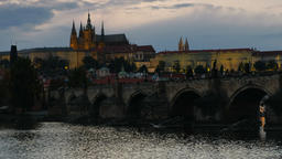Time-lapse of Charles Bridge and Prague Castle at dusk Footage
