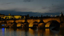 Blue hour pan of Charles Bridge and Prague Castle Footage