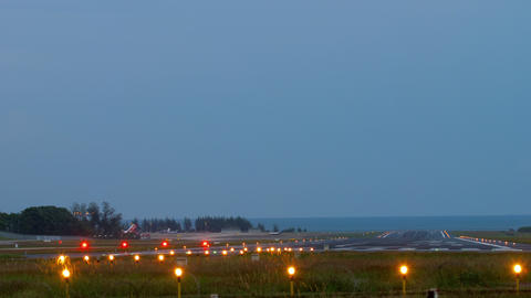 Runway Lighting Systems at early morning Live Action