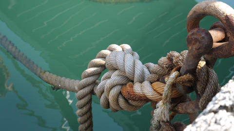 Fastening of the Rope at the pier Footage
