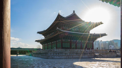 Timelapse video of sunring at Gyeongbokgung Palace in Seoul, South Korea Time Live Action