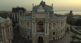 Drone tracks sideways pass the Odessa Opera Theatre 영상물