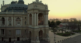 Drone flies back from the Odessa Opera Theatre Footage