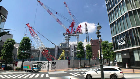 Tokyo - Shibuya : Cranes on construction site Timelapse Footage