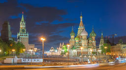 Moscow city skyline night timelapse at Red Square and Saint Basil 's Catherdral, Footage