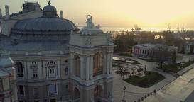 Drone descends the Odessa Opera Theatre Footage