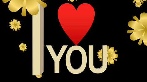 I love you banner composed from moving letters, red heart and falling golden Animación