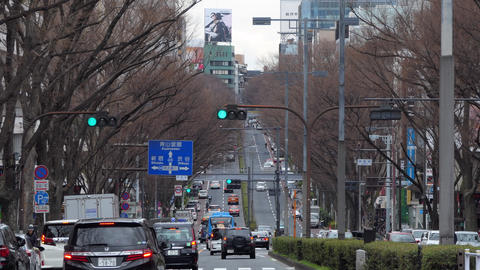 Urban View Of Tokyo Omotesando District With Traffic And Cars Footage