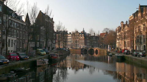 City View Of Amsterdam Canal The Netherlands Holland Early Morning ภาพไม่มีลิขสิทธิ์