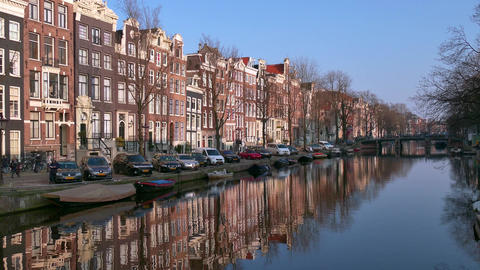 Amsterdam The Netherlands Holland View Of Water Canals Homes Buildings Footage