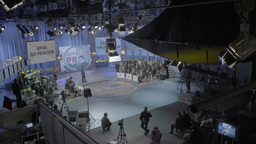 Big TV Studio during live TV broadcast Footage