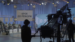 TV Studio during live TV broadcast Footage