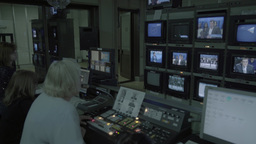 Monitors with live broadcast in the TV Studio Footage