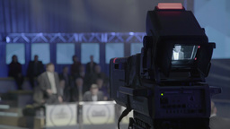 The camera records the person in the TV Studio during the TV show Footage