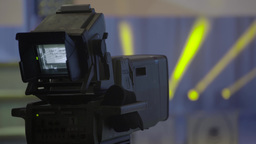 The camera in the TV Studio on time broadcast TV show Footage