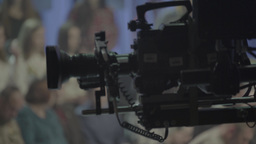 The camera in the TV Studio with spectators Footage