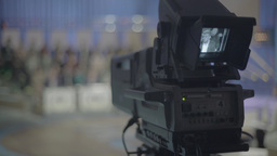 The camera operates in TV Studio during live broadcast Footage