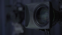 Two TV cameras in a TV Studio (refocusing) Footage