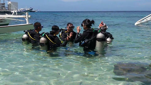Group of divers before diving into the water Footage