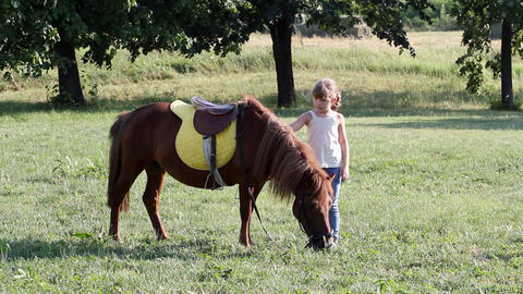 Little girl and pony horse Footage