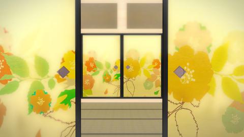 和風のふすま開く open Animation