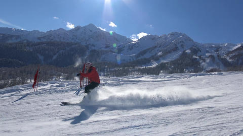Skiing on the slopes of Rosa Khutor Footage