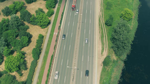 Highway traffic and guyed bridge in Warsaw Poland Footage
