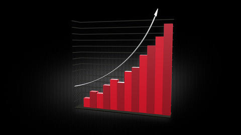 Growth Chart 12 Bars RED Animation