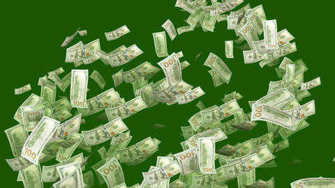 Swirling Dollars in the Dark Green Backdrop Animation