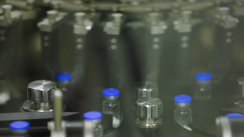 Medical bottles wits pills production, giant factory Footage