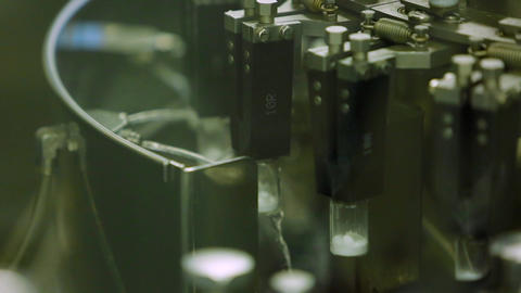 Sterilization of the bottle filled with medicine in the factory Footage