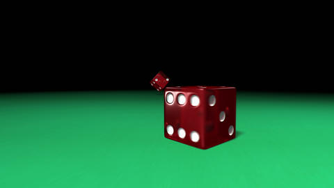 Red dice rolling on green casino table Animation