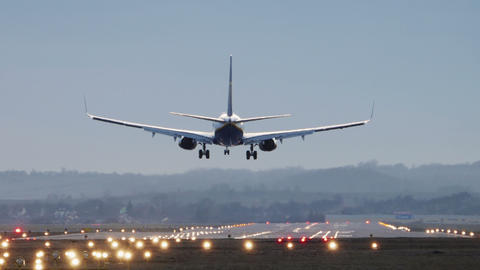 Commercial Airplane Landing in the morning Footage