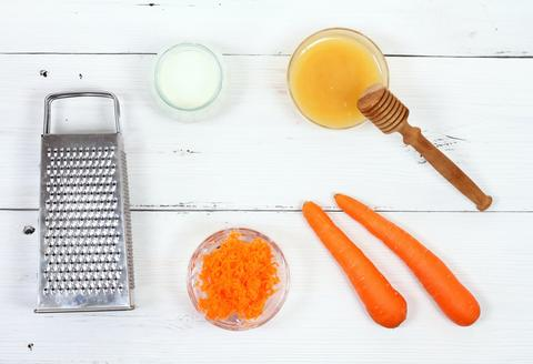 Ingredients for face mask on white wooden board Photo