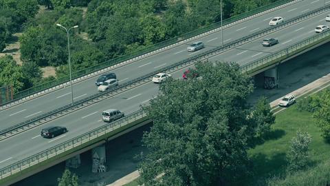 Aerial shot of highway traffic Footage