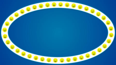 Smile happy blue background ellipse frame CG動画素材