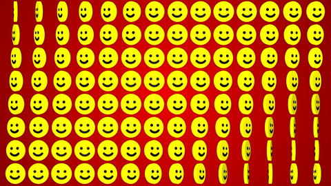 Smile happy red background rotating smiles Animation