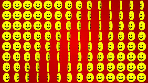 Smile happy red background rotating smiles, Stock Animation