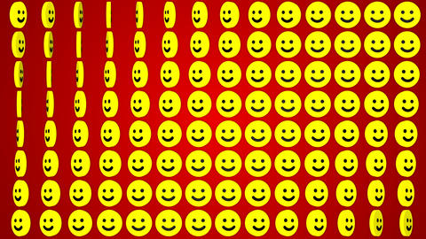 Smile happy red background rotating smiles Stock Video Footage