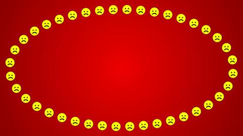 Sad smile emotion red background ellipse frame Animation