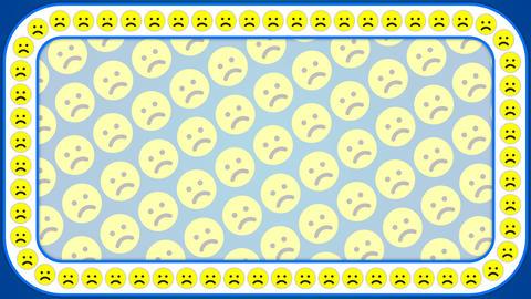 Sad smile emotion blue background rectangle frame Animation