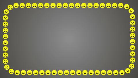 Sad smile emotion grey background rectangle frame Animation